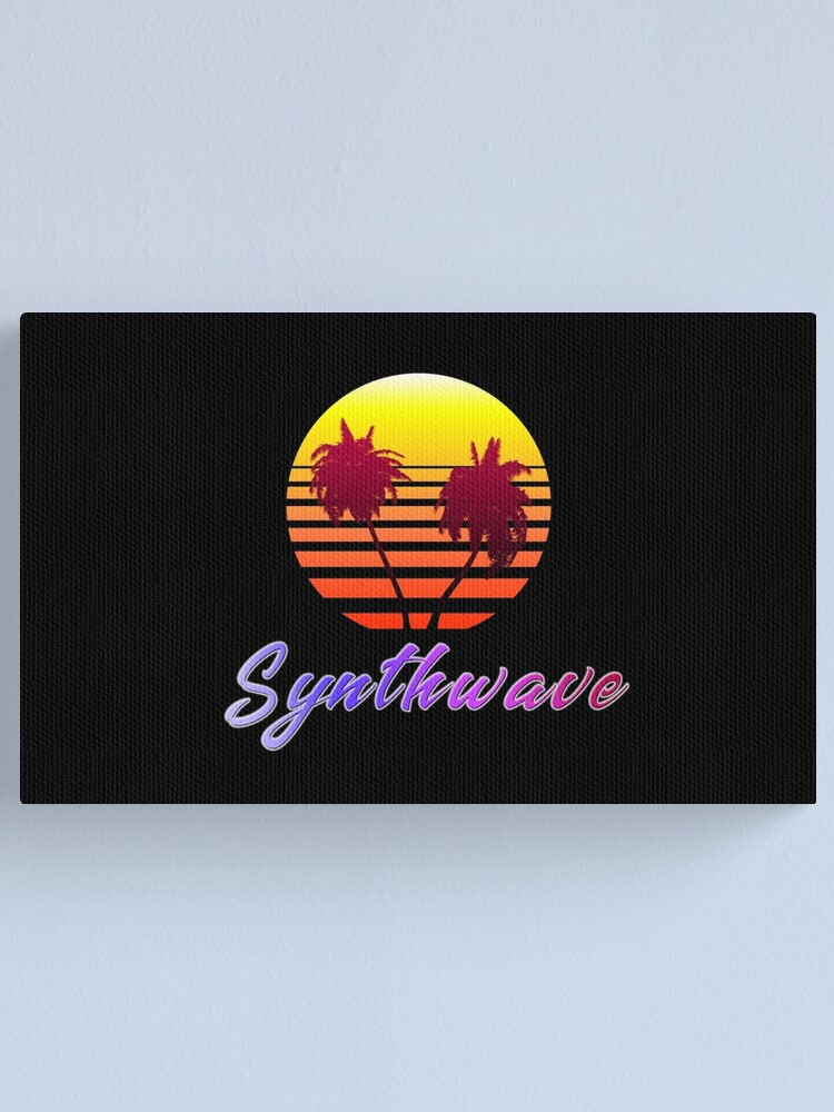 Alternate view of Synthwave Sun (with palm trees) Canvas Print