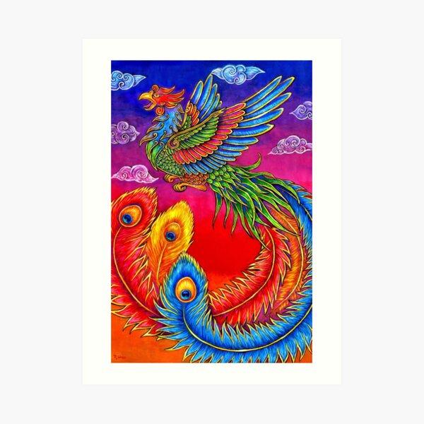 Fenghuang Chinese Phoenix Rainbow Bird Art Print