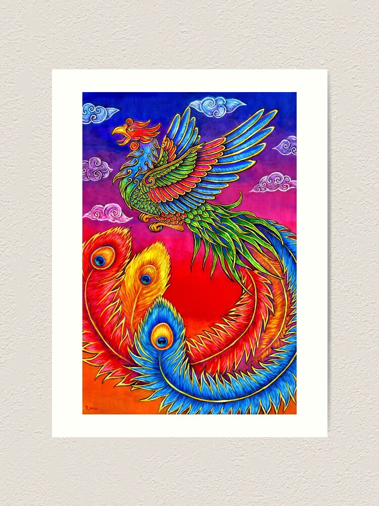Alternate view of Fenghuang Chinese Phoenix Rainbow Bird Art Print
