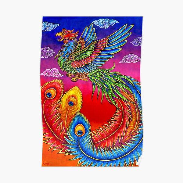 Fenghuang Chinese Phoenix Rainbow Bird Poster