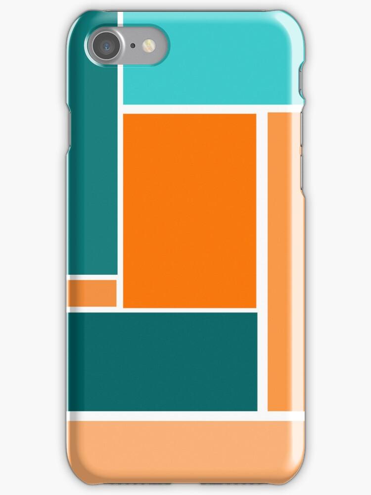 Bold, Geometric Design in Greens and Orange by ArtformDesigns
