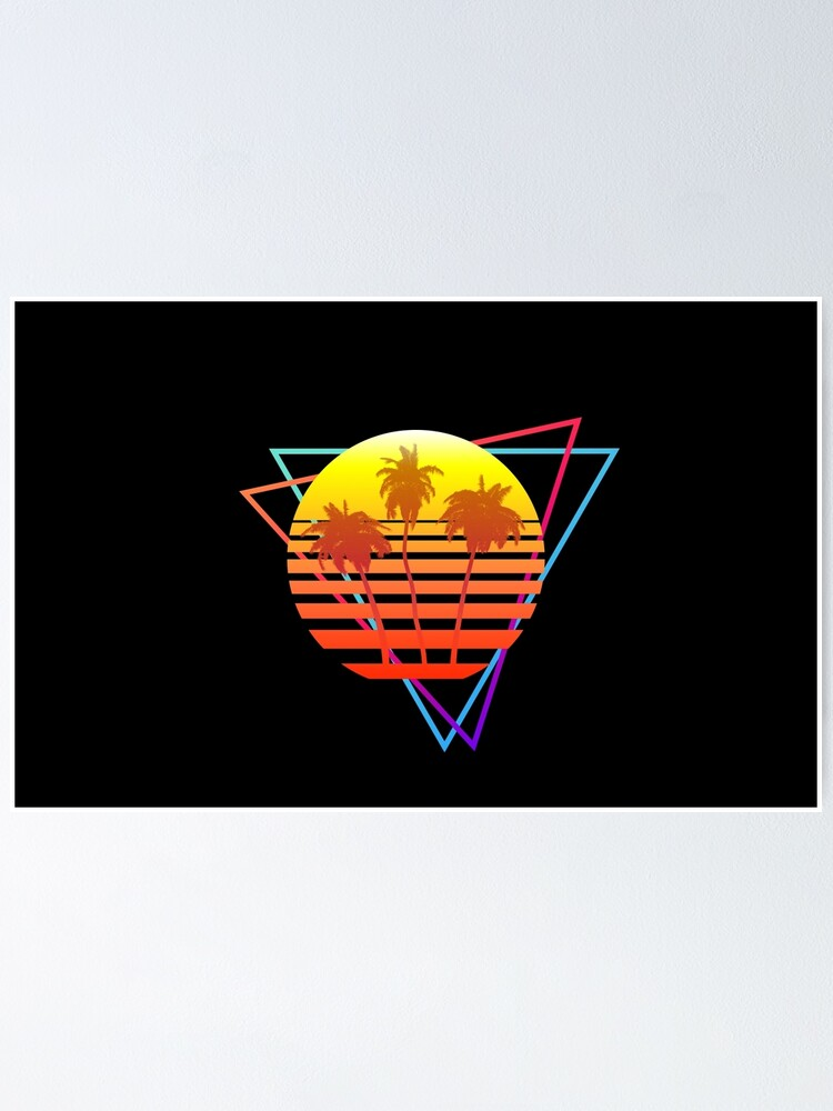 Alternate view of Synthwave Sun (with palm trees and triangles) Poster