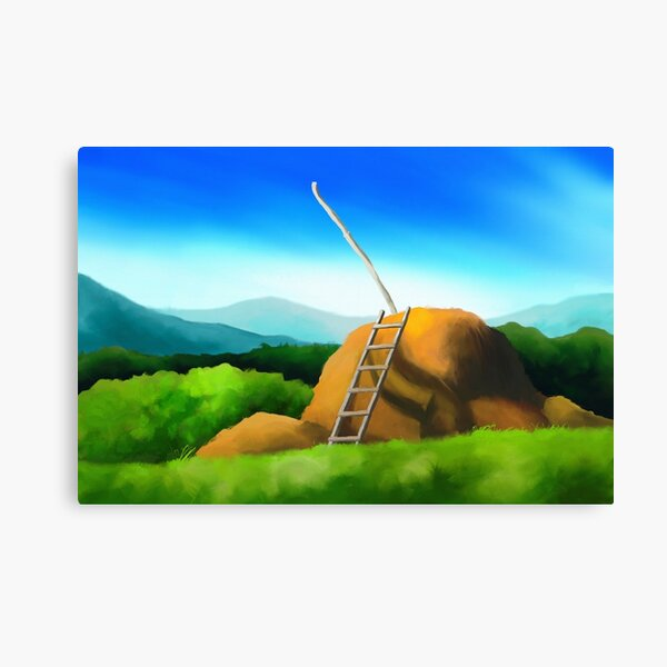 Minimalist landscape with a haystack and a ladder Canvas Print