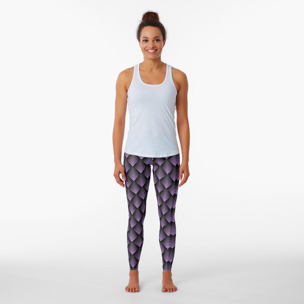 Purple and black art-deco pattern Leggings