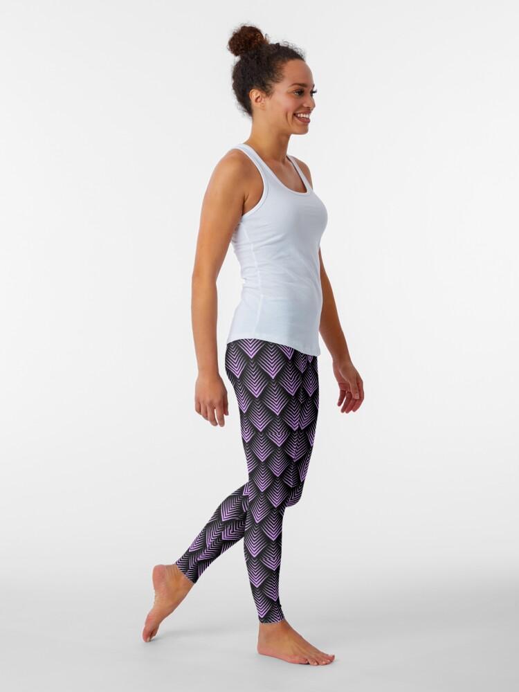 Alternate view of Purple and black art-deco pattern Leggings