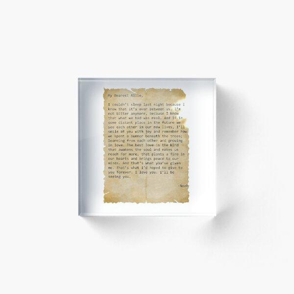 Noah's letter to Allie Acrylic Block