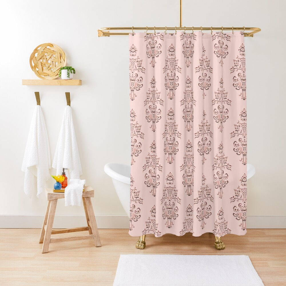 Rose Gold Haunted Mansion Wallpaper Carving Shower Curtain