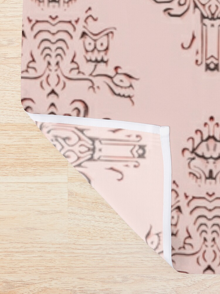 Alternate view of Rose Gold Haunted Mansion Wallpaper Carving Shower Curtain