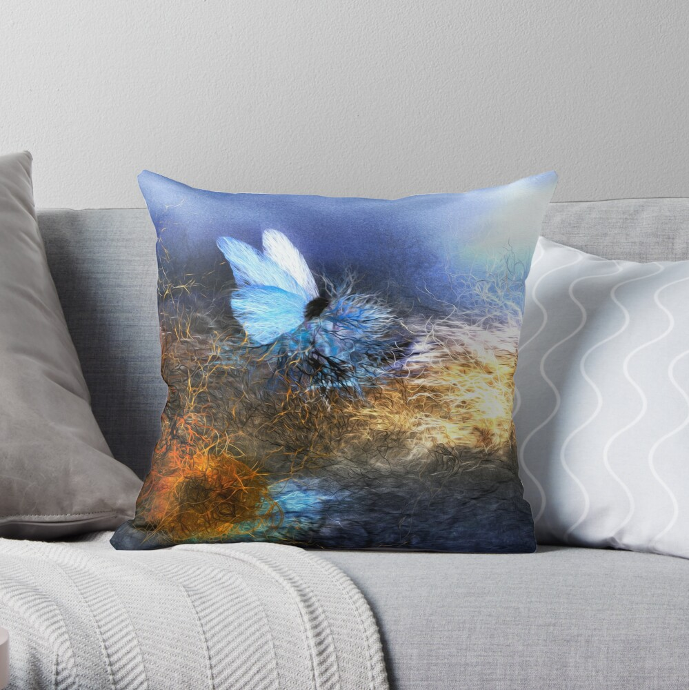 Early Blue Ones Throw Pillow