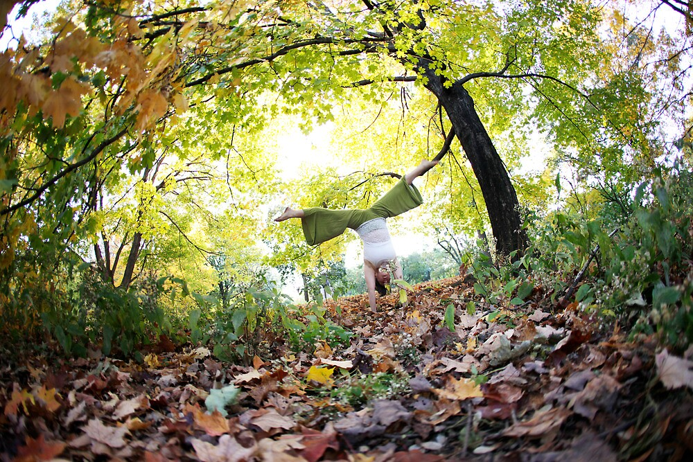 Autum Handstand in Central Park, New York  by Wari Om  Yoga Photography