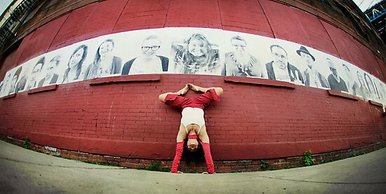 Handstand at DUMBO, New York City by Wari Om  Yoga Photography