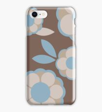 Blue and Brown Retro Wallpaper Flower Pattern iPhone Case/Skin