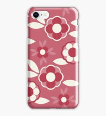 Hot Pink, Red and White Retro Wallpaper Flower Pattern iPhone Case/Skin