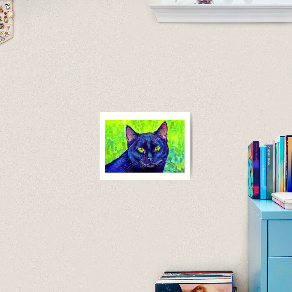 Colorful Black Cat with Chartreuse Eyes Art Print