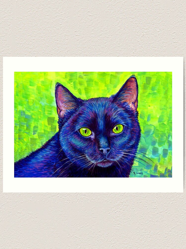 Alternate view of Colorful Black Cat with Chartreuse Eyes Art Print