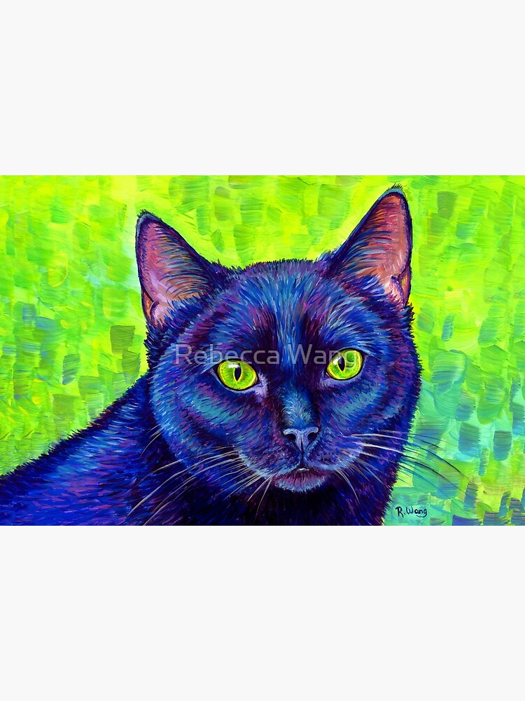 Colorful Black Cat with Chartreuse Eyes by lioncrusher
