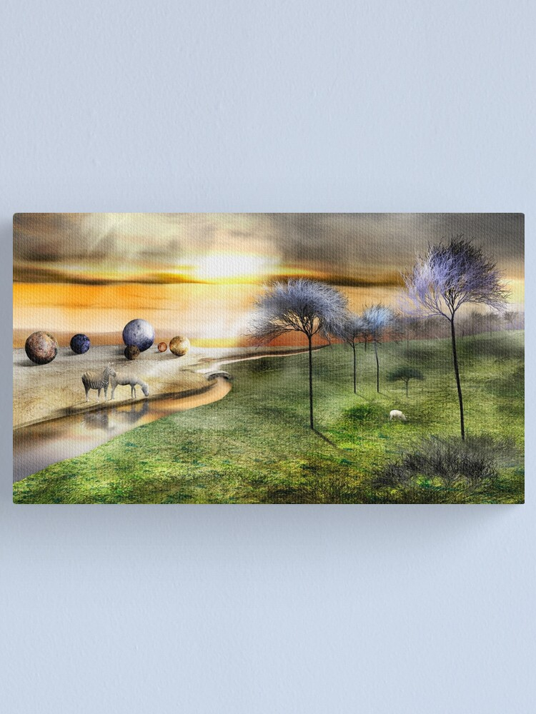 Alternate view of A Lamb Across the Bridge at Twilight Canvas Print