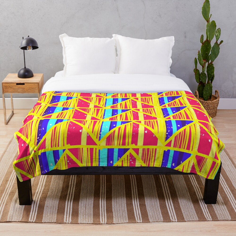 Funky Moroccan Colorful Art Deco Throw Blanket