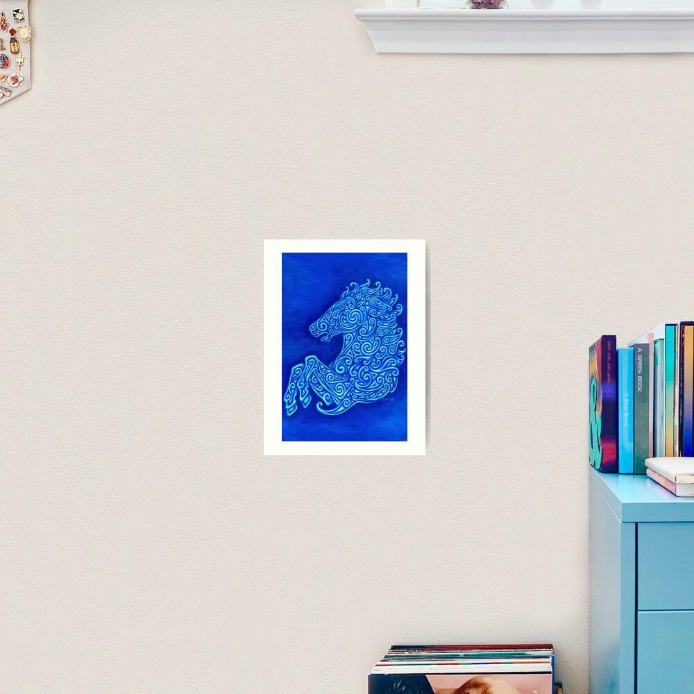 Blue Celtic Horse Abstract Spirals Design Art Print
