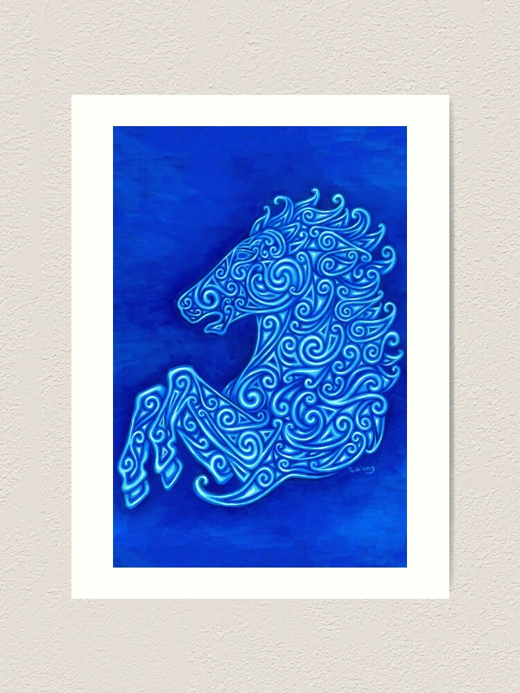 Alternate view of Blue Celtic Horse Abstract Spirals Design Art Print