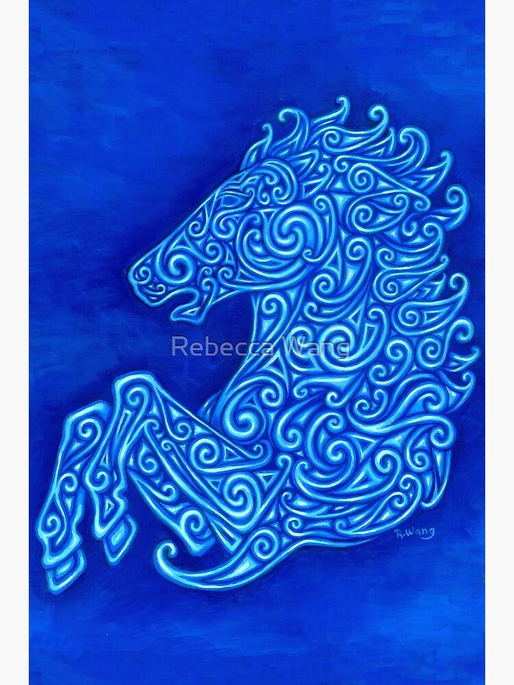 Blue Celtic Horse Abstract Spirals Design by lioncrusher