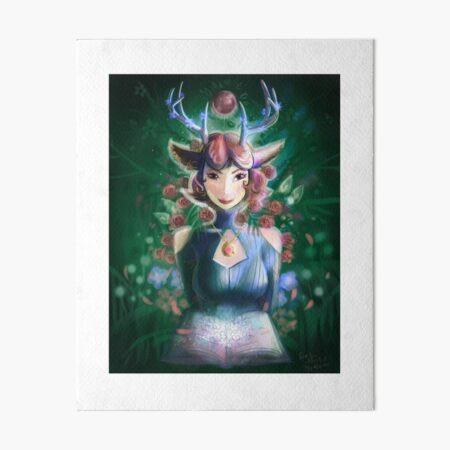 Forest Queen , Forest Grimoire, Forest Night - Green and Pink Floral Scene Art Board Print