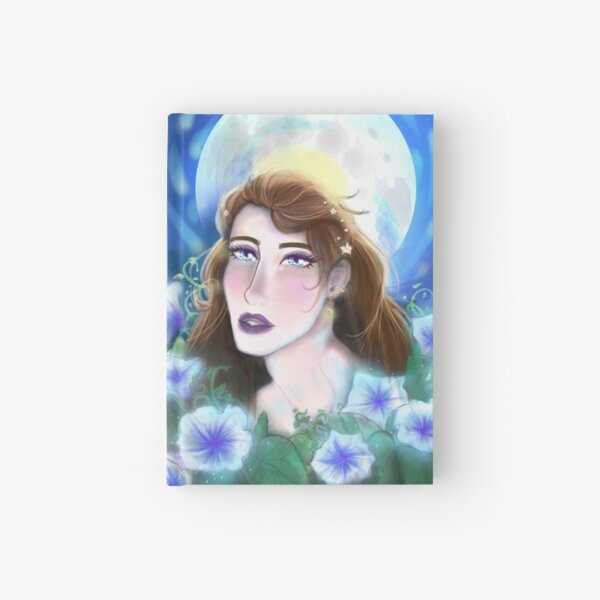 Moon Child - Woman in Moonlight with Moon flowers Hardcover Journal
