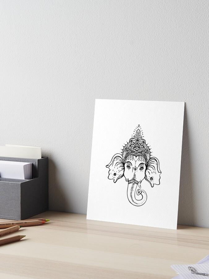 Ganesh Black And White Ralice Yoga Art Board Print By Raliceyoga Redbubble