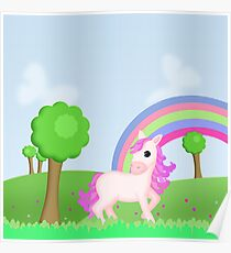 Cute Pink Pony Horse Cartoon Poster
