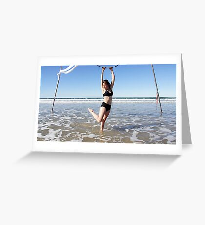 Aerial Hoop Trapeze Beach Camp Greeting Card