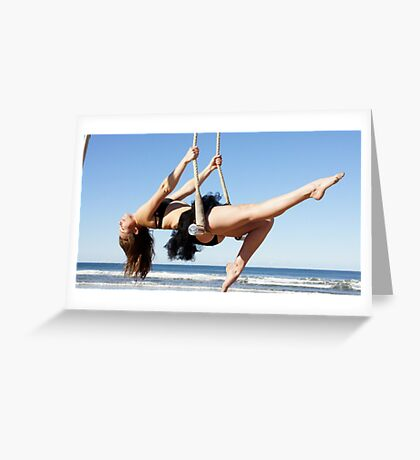 Static Trapeze at the Trapeze Beach Camp Greeting Card