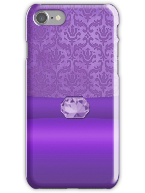 Vintage Damask Pattern in Purple with Ribbon and Amethyst Gem by ArtformDesigns
