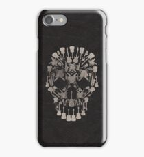 Faux Black Leather with Musical Skull Design iPhone Case/Skin