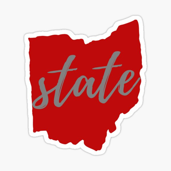 State of Ohio Outline Script Scarlet with Gray Sticker