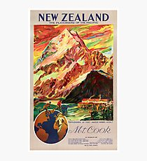 New Zealand Mt. Cook Vintage Travel Poster Photographic Print