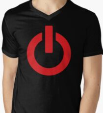 Power Button (red) Mens V-Neck T-Shirt