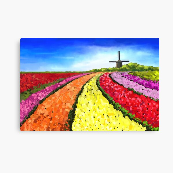 Colorful Dutch Tulipfields with Windmill Canvas Print