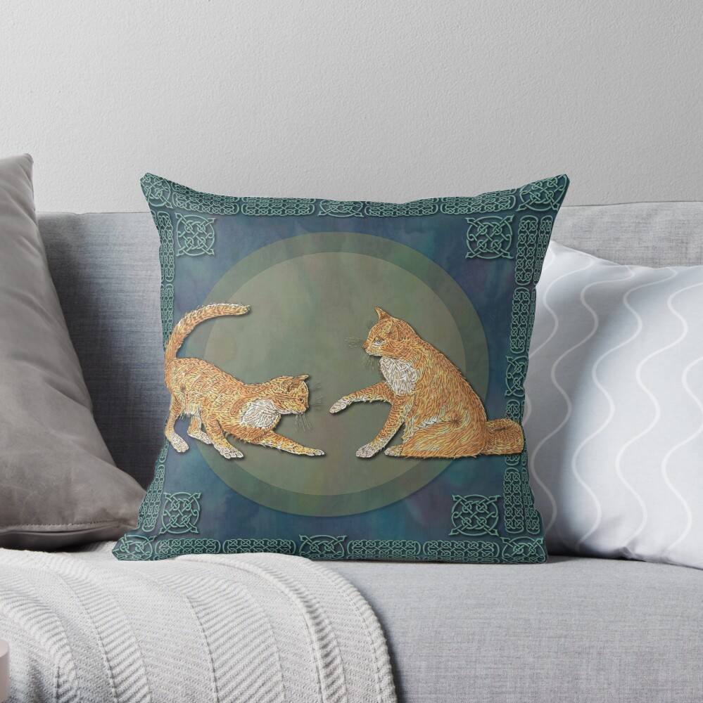Celtic Cats - Ginger Cats Throw Pillow