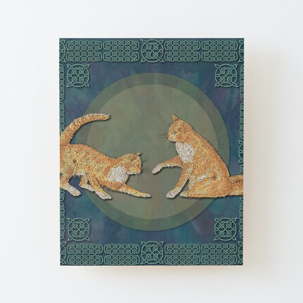 Celtic Cats - Ginger Cats Wood Mounted Print