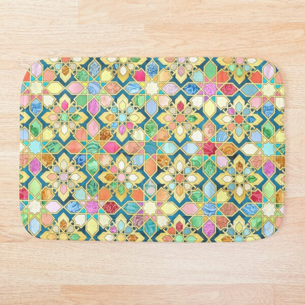Gilded Moroccan Mosaic Tiles Bath Mat