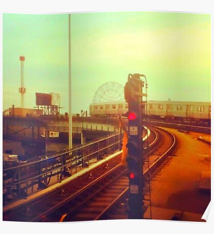 entering coney island station Poster