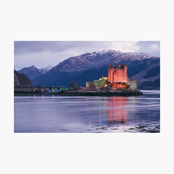 Eilean Donan Castle on a winter evening  in the Highlands of Scotland , Eilean Donan Castle is one of the finest Scottish castles for photography Photographic Print