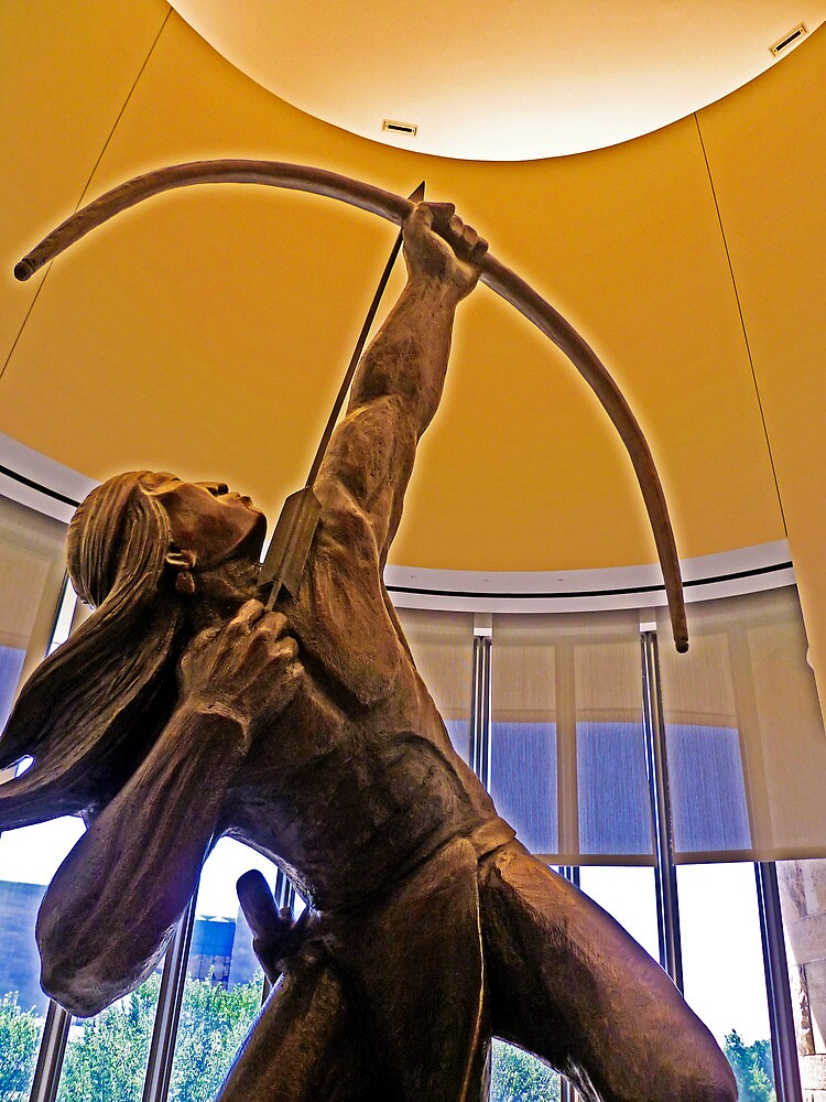 Statue of American Indian with Bow and Arrow by TonyCrehan