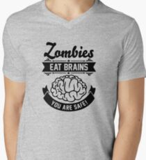 Zombies eat brains you are safe! Men's V-Neck T-Shirt