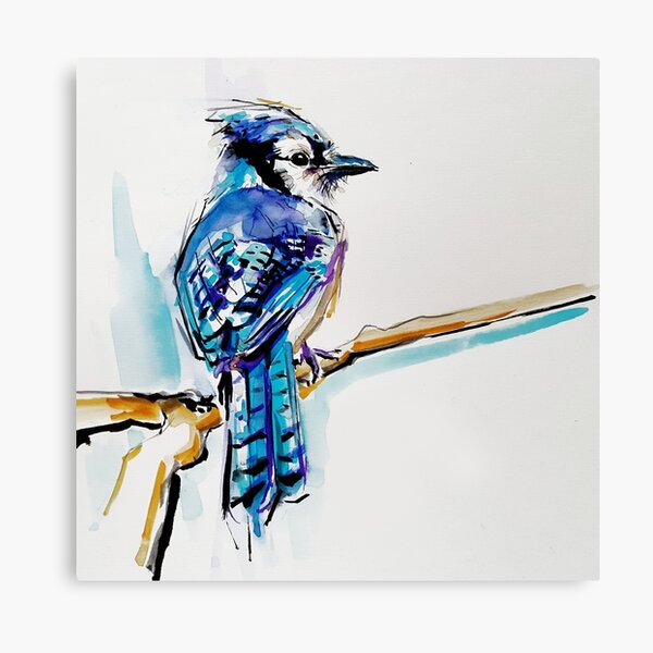 Blue jay bird - ANIMAL blue watercolor painting Canvas Print