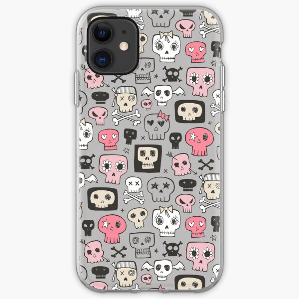 Skulls in Pink on Grey iPhone Soft Case