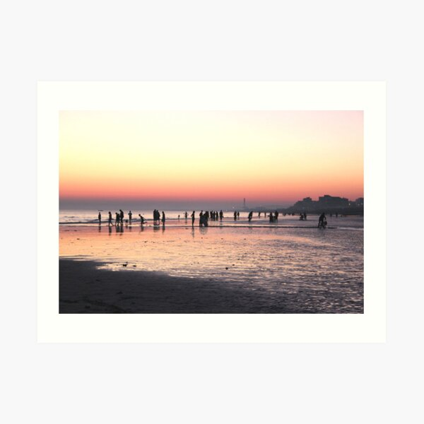 Sunset on Brighton beach Art Print