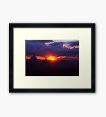 Glasshouse mountains sunset Framed Print