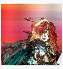 Pencil Sketch Futuristic Woman Poster
