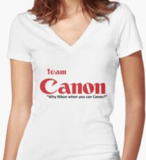 """Team Canon! - """"why nikon when you can CANON?"""" Women's Fitted V-Neck T-Shirt"""